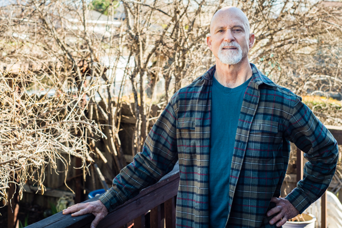 Bad Stevens, 54, at his home in Lakeport, Calif., on March 7, 2014.  After a battle with thyroid cancer, Stevens doesn't consider himself invincible anymore (Photo by Heidi de Marco/KHN).