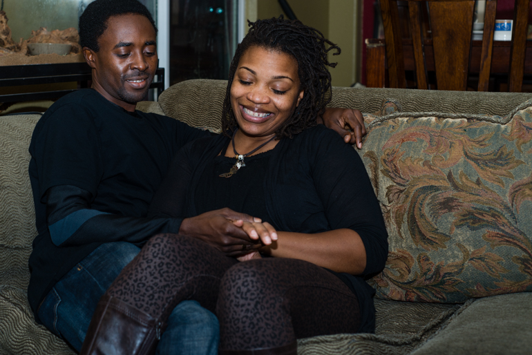 Arthur and Kairis Chiaji in their living room at their house in Sacramento, California on Thursday, December 11, 2014.  Even though there was a mix up with their application through Covered California, the Chiaji's say the hassle is worth it (Photo by Heidi de Marco/KHN).