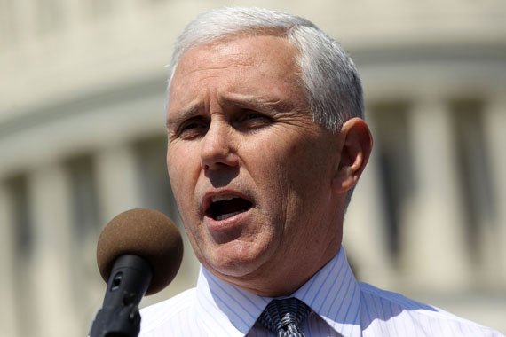 Then-U.S. Rep. Mike Pence (R-Ind.) speaks during a rally on Capitol Hill April 2011 in Washington. Pence is now governor of Indiana.  (Photo by Alex Wong/Getty Images)