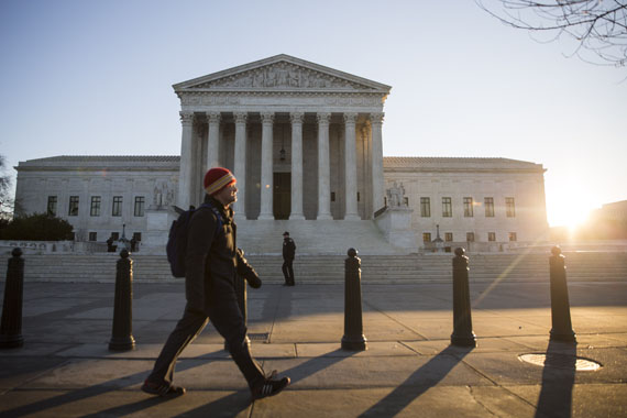 A view of the Supreme Court, January 16, 2015 in Washington. (Photo by Drew Angerer/Getty Images)