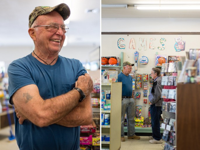 (L) Ernie Hall, 77, is a long-time customer and friend of pharmacist Gerry Reichelderfer. (R) Reichelderfer and Hall at the Hayfork Drug Store on Saturday, June 21, 2014.   Reichelderfer says he knows most of his customers by name (Photo by Heidi de Marco/KHN).
