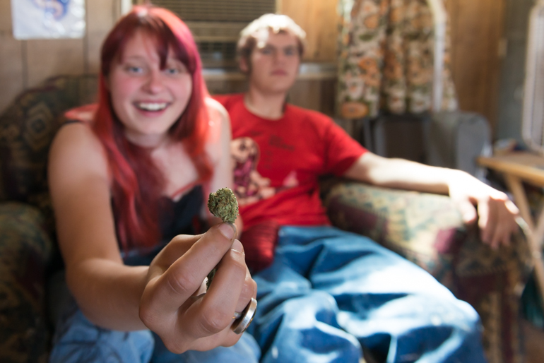 Stormy Clarke, 22, chooses to smoke medical marijuana to cope with her bouts of schizophrenia and bipolar depression instead of taking any prescribed pills  (Photo by Heidi de Marco/KHN).