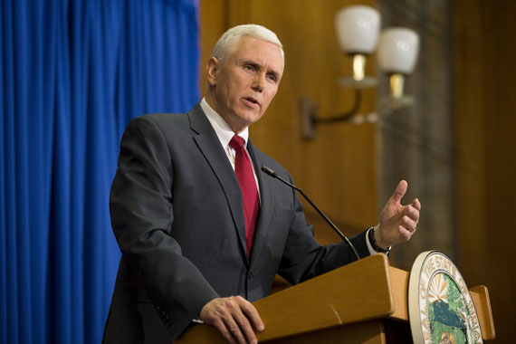 Indiana Gov. Mike Pence speaks during a press conference March 31, 2015 at the Indiana State Library in Indianapolis, Indiana.  (Photo by Aaron P. Bernstein/Getty Images)