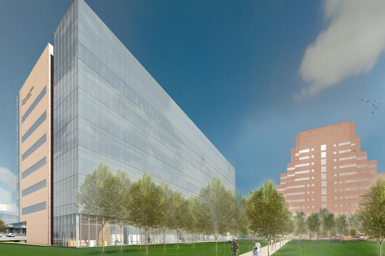 An architectural rendering of the Cleveland Clinic's planned cancer center. (Courtesy of the Cleveland Clinic)