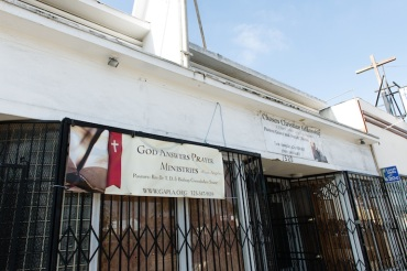 God Answers Prayer Ministries in Los Angeles, California on May 3, 2015 (Photo by Heidi de Marco/Kaiser Health News).