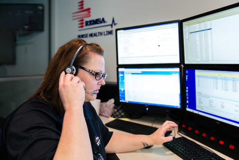 he Nurse Health Line, located in the 911 medical communications center, features a non-emergency phone number broadly marketed to the public. To date, the program has fielded more than 16,000 calls (Photo by Heidi de Marco/KHN).