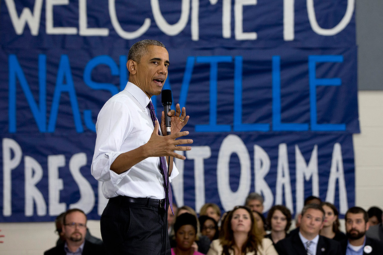 President Barack Obama speaks at Taylor Stratton Elementary School, in Nashville, Tenn, July 1, 2015, about the Affordable Care Act. The president said he wants to refocus on improving health care quality, expanding access and rooting out waste now that the Supreme Court has upheld a key element of his health care law. (AP Photo/Carolyn Kaster)