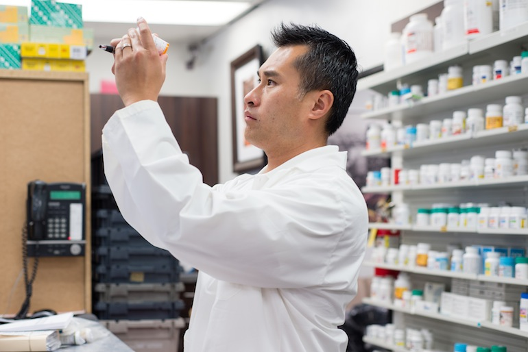 Ken Thai, part-owner and manager of the El Monte Pharmacy Group, says he is excited about the new regulation that will allow him to directly prescribe birth control in his pharmacies in California (Photo by Heidi de Marco/KHN).