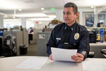 Lieutenant Lionel Garcia is the lead officer of the LAPD's Mental Evaluation Unit (Photo by Maya Sugarman/KPCC).