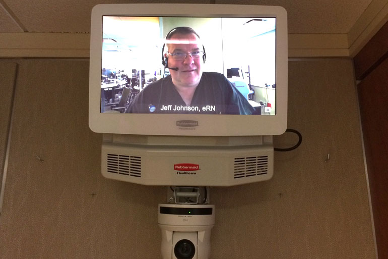Mercy Virtual, based in St. Louis, will use video monitors like this to beam nurses into patients rooms in five states. (Photo by Alex Smith/KCUR)