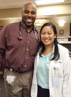 Medical student Karen Duong worked in Hereford, Texas, with Dr. Akinyele Lovelace, an instructor with the University of North Texas Health Science Center's rural medical education program. (Photo by Lauren Silverman/KERA)