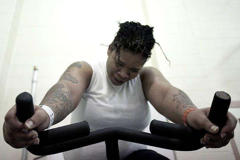 Prisoner Leahya Ellis bikes
