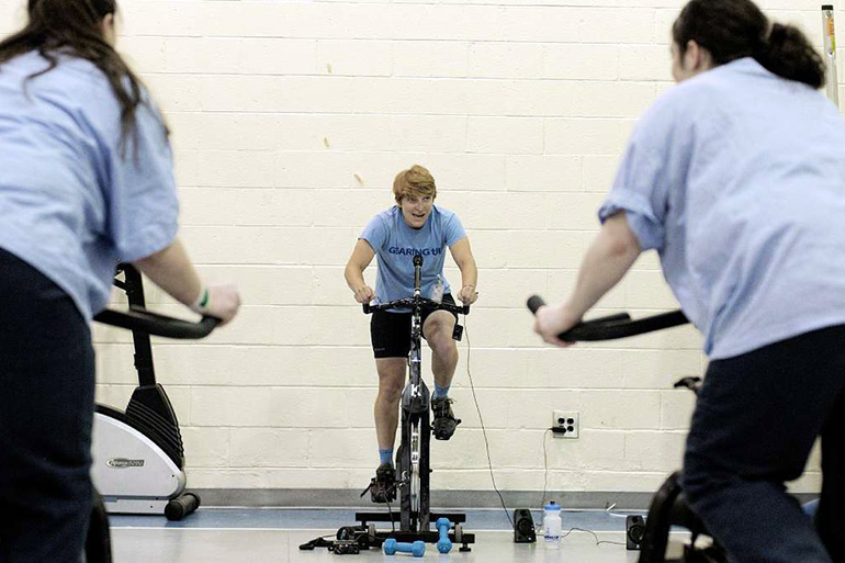 Spinning instructor Erica Tibbetts