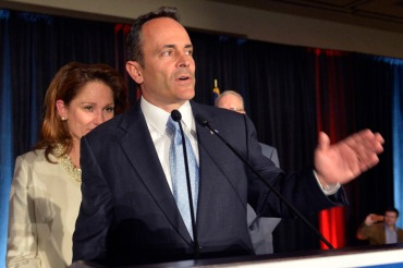 Kentucky Gov.-elect Matt Bevin gives his victory speech at the Republican Party victory celebration in November in Louisville, Ky. Experts say Bevin is likely planning to end the state's health insurance marketplace, Kynect. (Photo by Timothy D. Easley/AP)