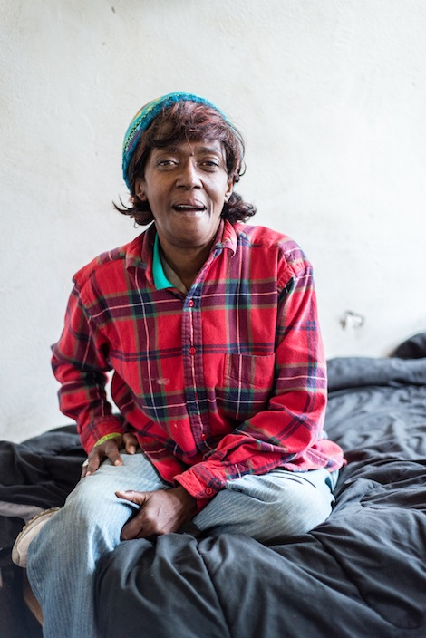 Loren Jones, 63, at her apartment in Berkeley, Calif. Jones was homeless when she was diagnosed with HIV. (Heidi de Marco/KHN)