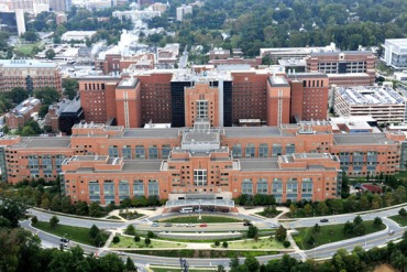 An aerial view of the Clinical Center, Building 10, at the National Institutes of Health campus in Bethesda, Md. (Credit: NIH) Credit: National Institutes of Health
