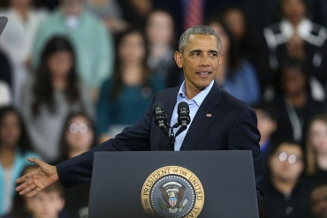 U.S. President Barack Obama speaks during an event at the University of Nebraska Omaha Baxter Arena on January 13, 2016 in Omaha, Nebraska. The president spoke a day after his last State of the Union speech. (Joe Raedle/Getty Images)