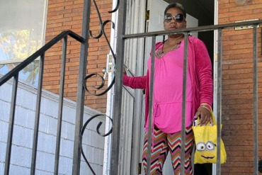 Sharlene Adams heads out from her N. Bentalou Street home to track down a blood pressure cuff. (Capital News Service/Rachel Bluth)