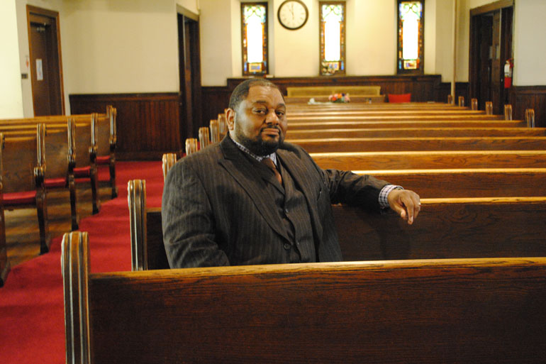 Derrick DeWitt is the pastor of First Mount Calvary on Fulton Avenue in Sandtown.