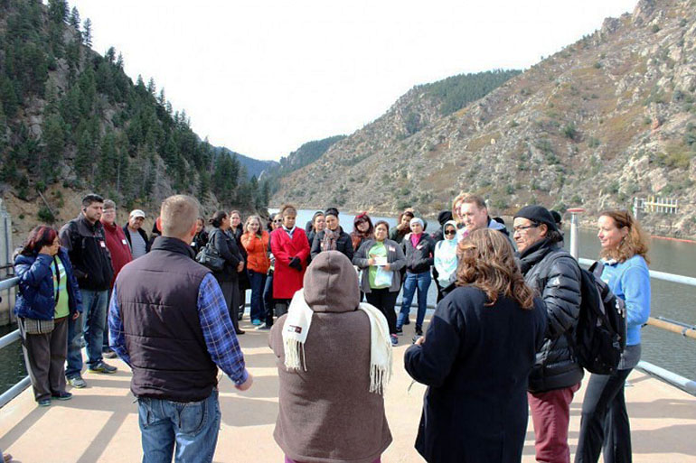 A group of Westwood community leaders visited Denver Water's Waterton Canyon Reservoir in Oct. 2015 to see first hand the source of some of the city's water supply. (Courtesy of Cavities Get Around)