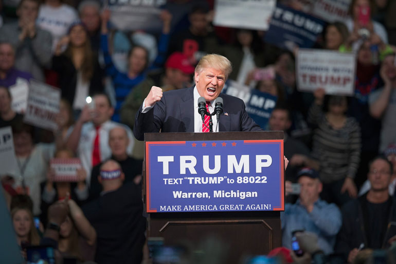 Republican presidential candidate Donald Trump speaks to guests during a rally at Macomb Community College on March 4, 2016 in Warren, Michigan. (Scott Olson/Getty Images)
