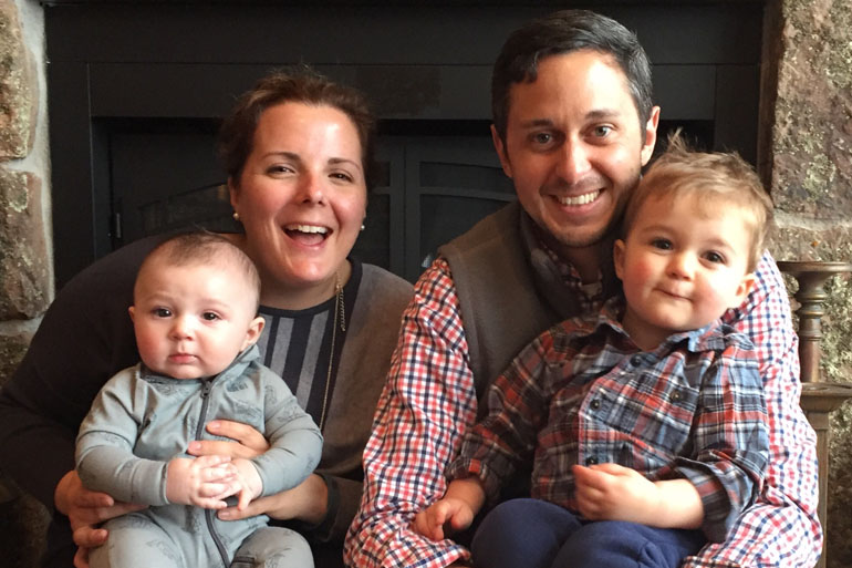 Because of concerns about Zika, Annie Tursi and her husband Brian are rethinking plans to try for a third child in 2016. Here with Oliver (2) and Arthur (6 months). (Courtesy Annie Tursi)