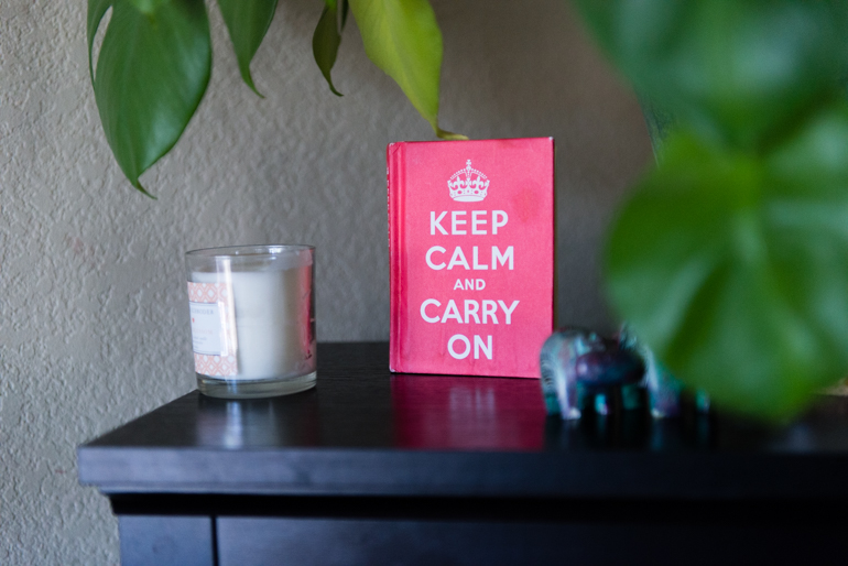 A meditation book sits on Jamie Hancock's living room table. After her stroke, Hancock said she needs to find ways to calm herself down during stressful moments. (Heidi de Marco/KHN)