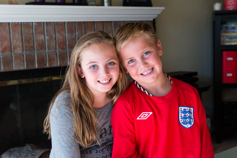Blythe Hancock, 9, and Andrew Hancock, 7, at their home in Rocklin, Calif., on June 30, 2016. Jamie Hancock says she feels guilty about the stress her children have to endure due to the side effects of her stroke. (Heidi de Marco/KHN)
