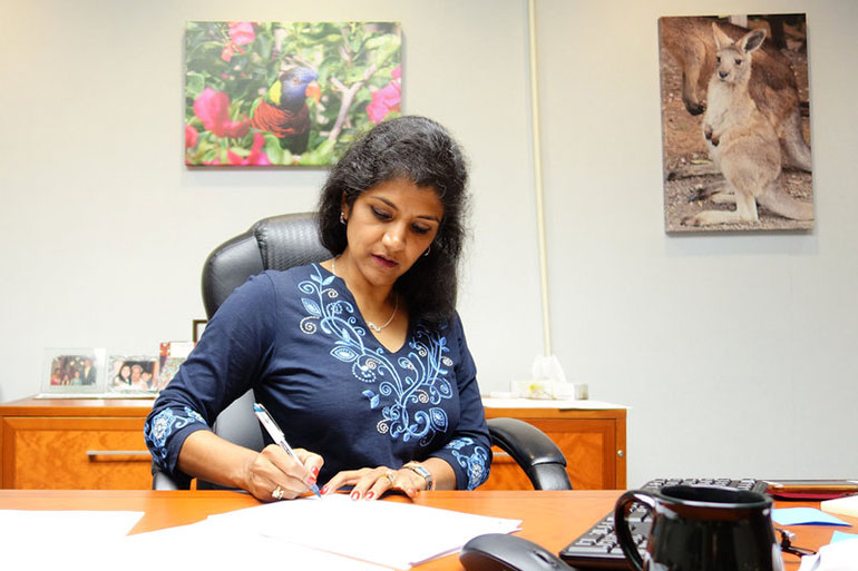 Dr. Lakshmi Sammarco, the coroner for Hamilton County, Ohio, worries about the paucity of information about how carfentanil, an animal drug, affects humans. (Jake Harper/Side Effects Public Media)