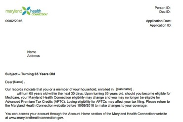 Maryland notifies beneficiaries nearing Medicare age about overlapping coverage.