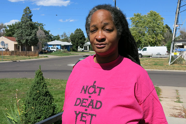 "Anita Cameron, a board member of the group ""Not Dead Yet,"" opposes Proposition 106. (John Daley/CPR)"