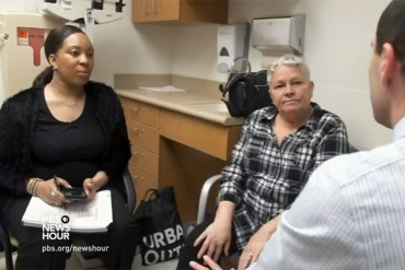 Jeanette Rodriguez had dismissed the tingling on her right side as arthritis, but Belton's insistence and long relationship with her ensured Rodriguez's doctor would hear about it. (Courtesy of PBS Newshour)