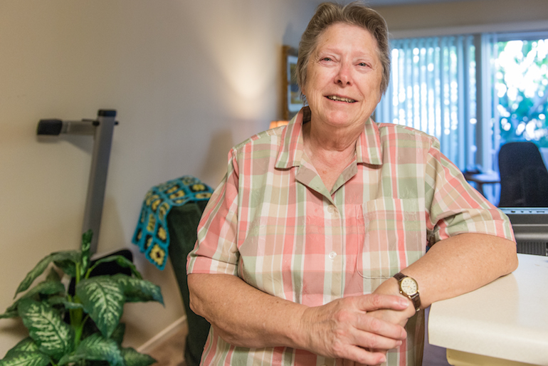 Lee Marquardt, 74, at the Triangle Square Apartments in Los Angeles, California, in August 2016. Marquardt moved into the apartment building two years ago. She said she didn't want to spend her elder years hiding her true self as she had as a younger woman. (Heidi de Marco/KHN)