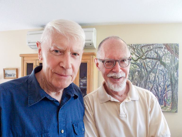 Partners Edwin Fisher, 85, and Patrick Mizelle, 64, moved to Rose Villa in Portland, Oregon, from from Georgia about three years ago. Fisher and Mizelle worried residents of senior living communities in Georgia wouldn't accept their gay lifestyle. (Anna Gorman/KHN)
