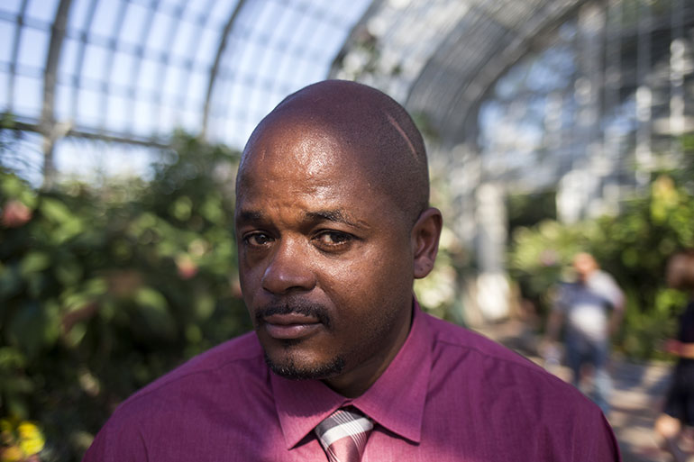 "Jerold Exson, 41, suffered 10 gunshot wounds in a case of mistaken identity two years ago. Without Medicaid, he said, ""I would probably be messed up for life."" (Alex Wroblewski for The New York Times and KHN)"