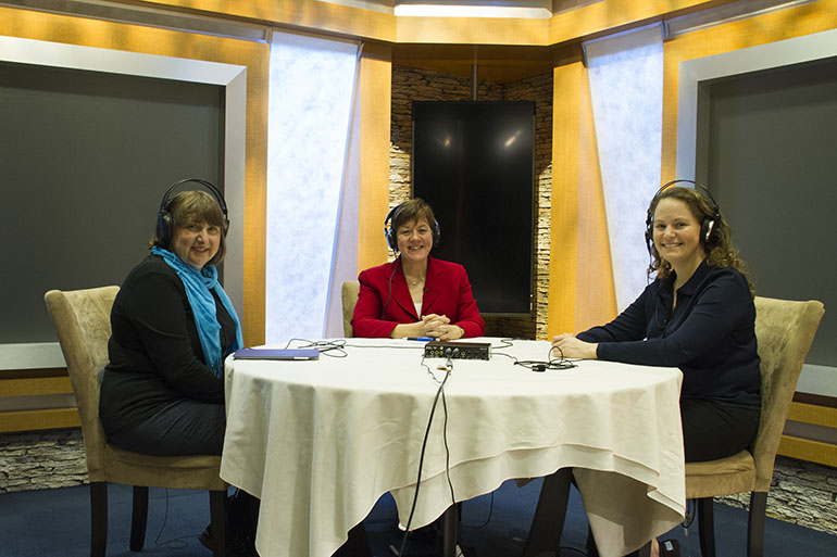From left, KHN's Julie Rovner and Mary Agnes Carey joined Margot Sanger-Katz of The New York Times for a podcast in the KHN studio on Tuesday. (Francis Ying/KHN)