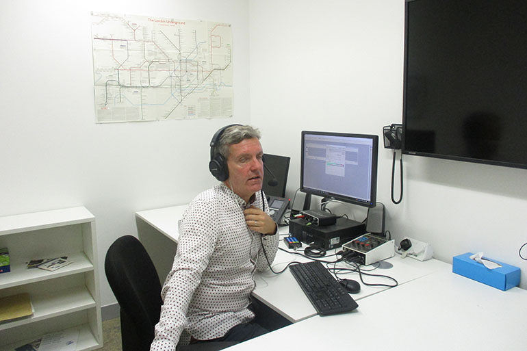 Richard Lane, web editor of The Lancet, participates in Tuesday's webcast from The Lancet's London offices. (Courtesy of The Lancet)