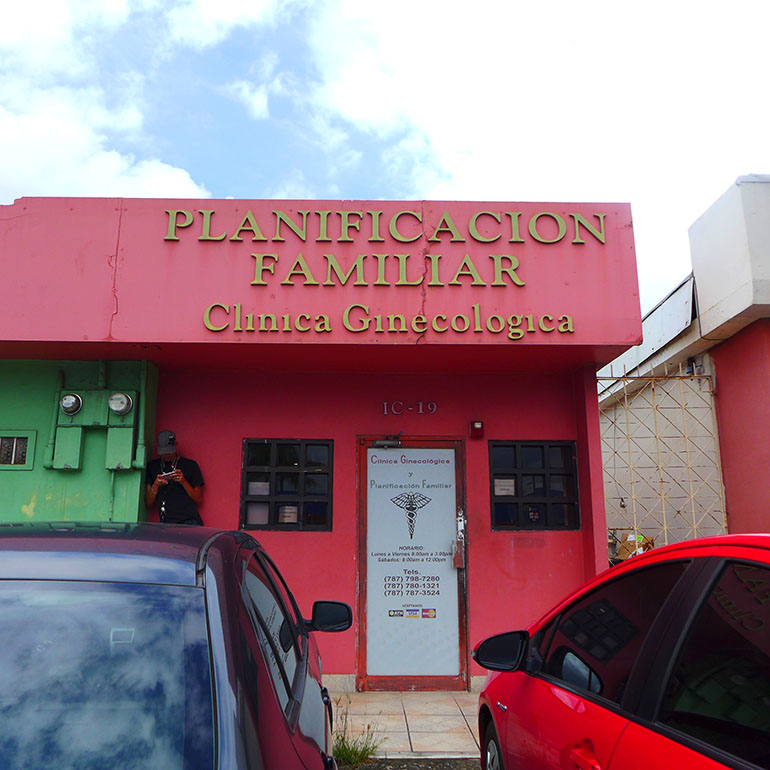 Planificacion Familiar, an abortion clinic operating out of the corner unit of a strip mall in Bayamon, Puerto Rico, is run by Dr. Hector Diaz, 86. Diaz says he administers surgical and medical abortions, charging between $250 to $300 for the full procedure and follow-up appointment. (Carmen Heredia Rodriguez/KHN)