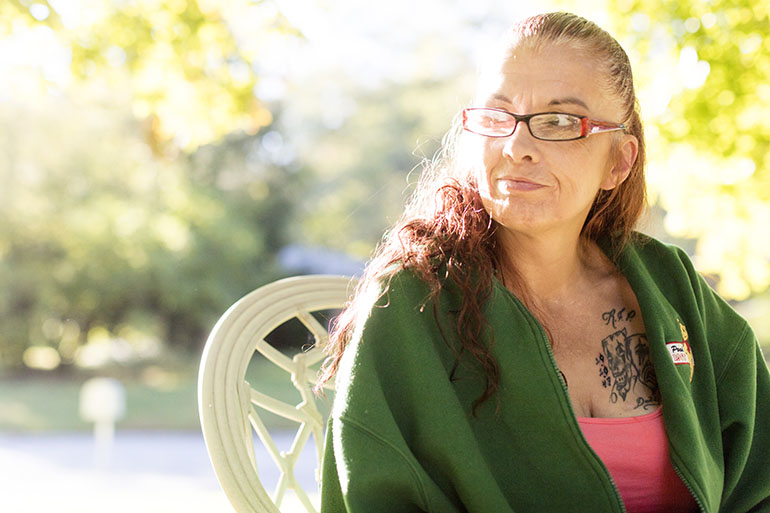 Julie Estrada-Medina, 48, was released from prison in Indiana in July after serving two years on a habitual traffic violator charge. She says she has diabetes, gastrointestinal issues, asthma, and severe anxiety, for which she relies on a wide variety of medications. Estrada-Medina thought she had filed for Medicaid, but that she never received confirmation and had to enroll a second time. (Philip Scott Andrews/For KHN)