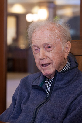 Brendan Wall, 87, a retired religion and philosophy teacher, (Jovelle Tamayo for KHN)
