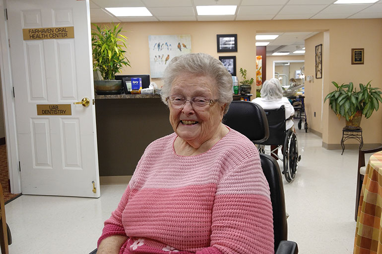 Peggy Batcheler, 87, a resident at the dental clinic inside Fair Haven, a large retirement community in Birmongham, Ala. (Phil Galewitz/KHN)