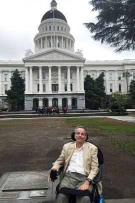 David Huntley testified in favor of California's right to try bill in April 2015 in Sacramento. He died three months later. (Courtesy of Lina Clark)