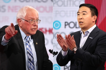 Bernie Sanders Andrew Yang