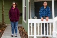 Side by side photos of Suzan Mubarak and Mitch Domier