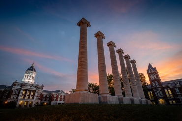 Architectural columns and Jesse Hall on the campus of University of Missouri